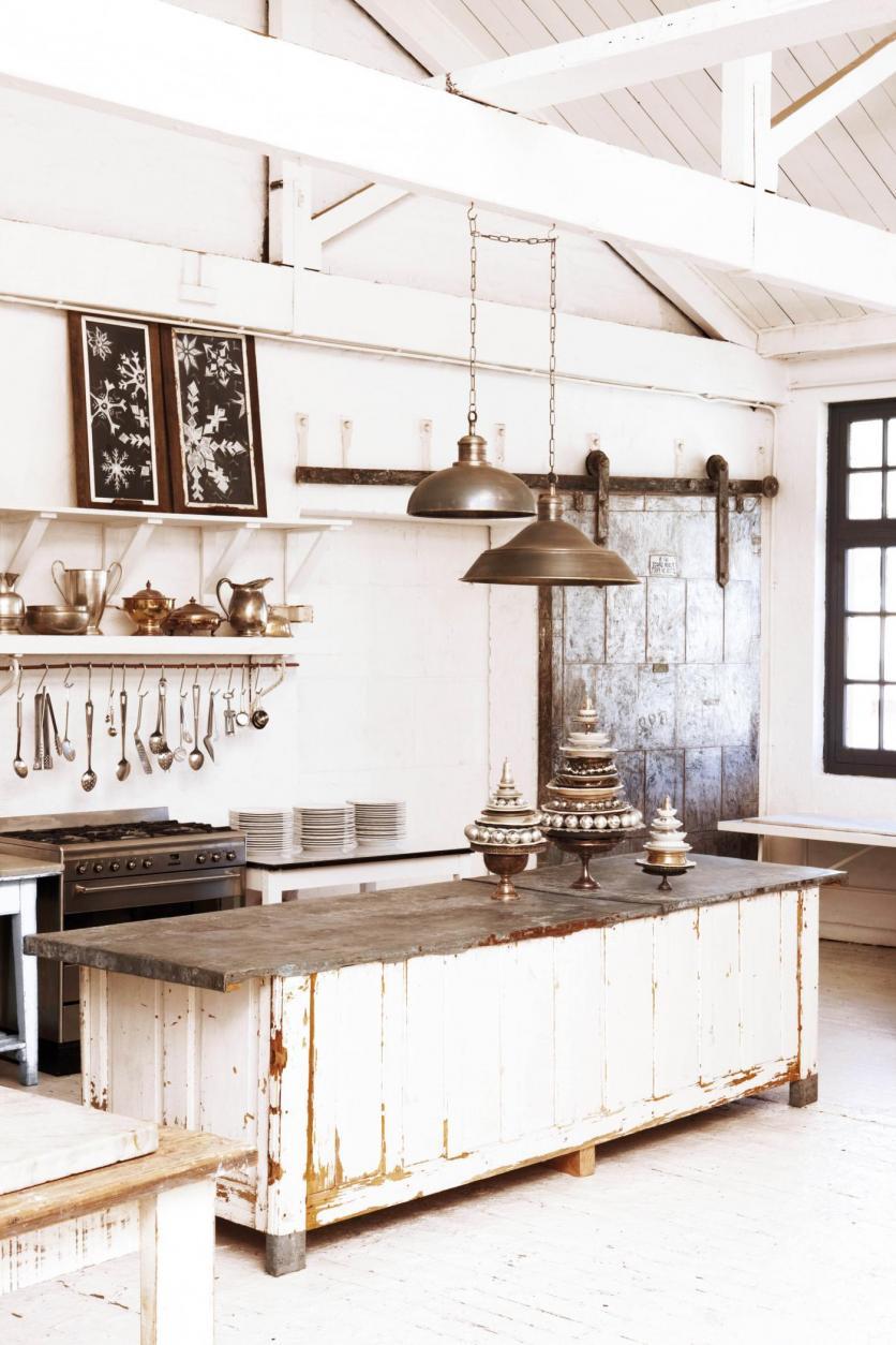 vintage, rusztikus, indusztriál, fém, konyha, konyhasziget, fehér, country