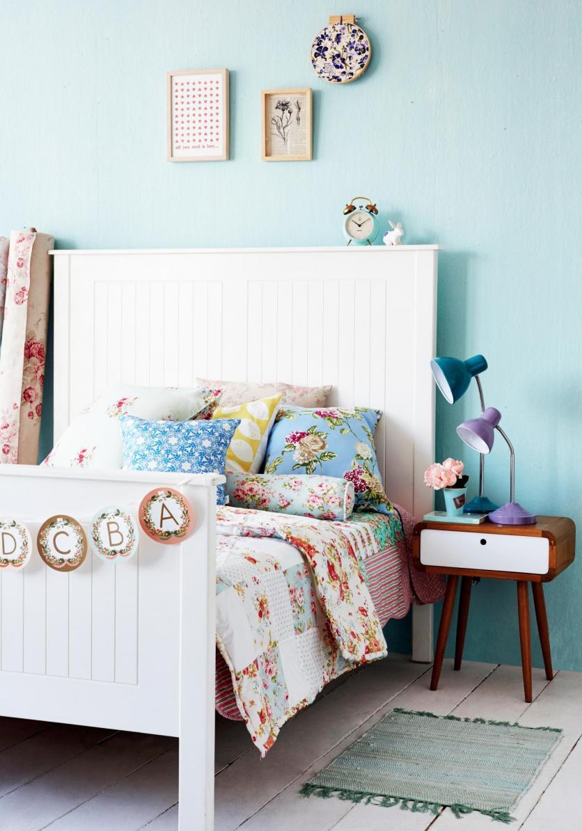 hálószoba, fehér, ágyvég, ágytámla, country, vintage, romantikus