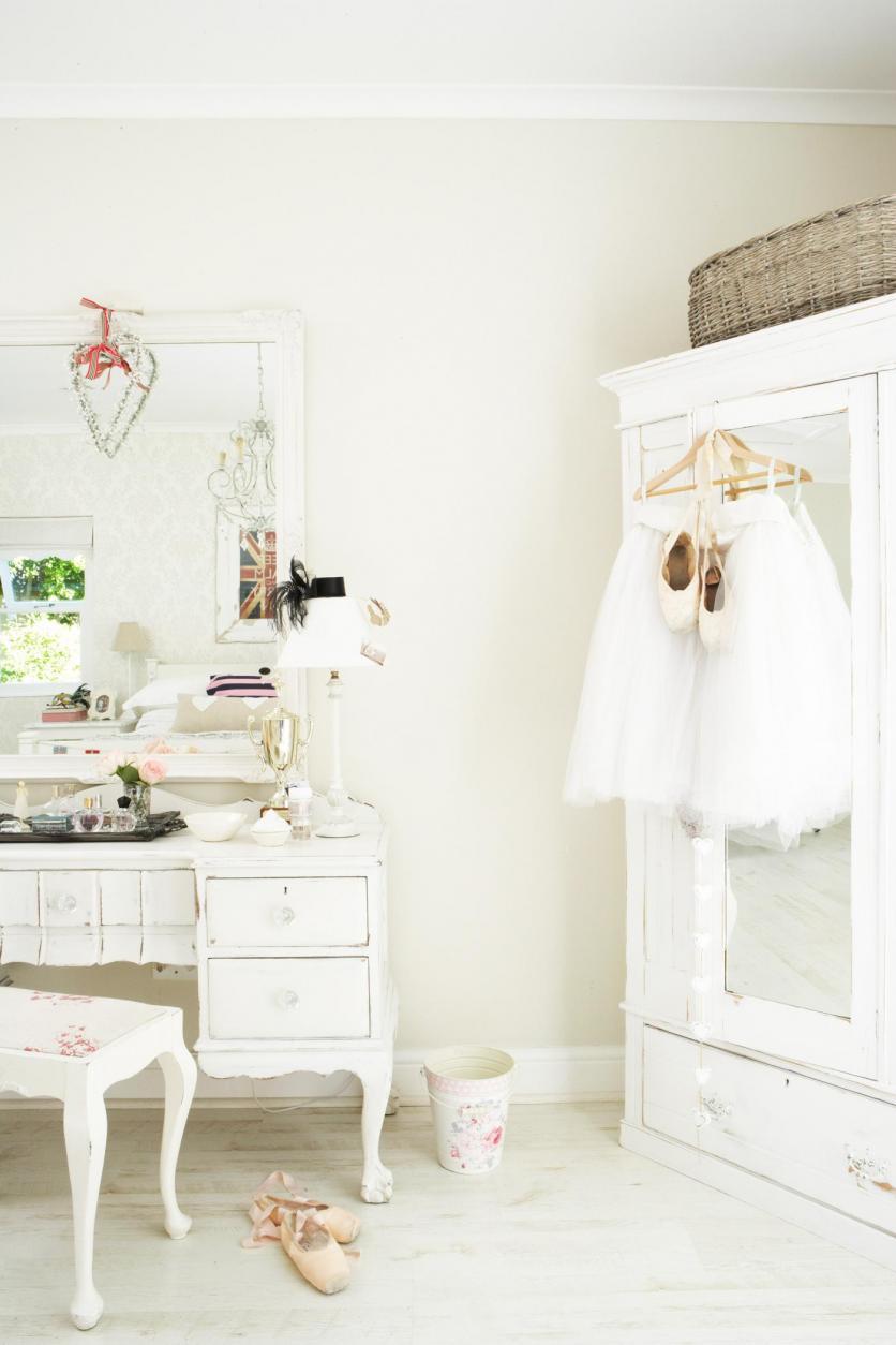 romantikus, vintage, pasztell, fehér, fésülködőasztal, klasszikus