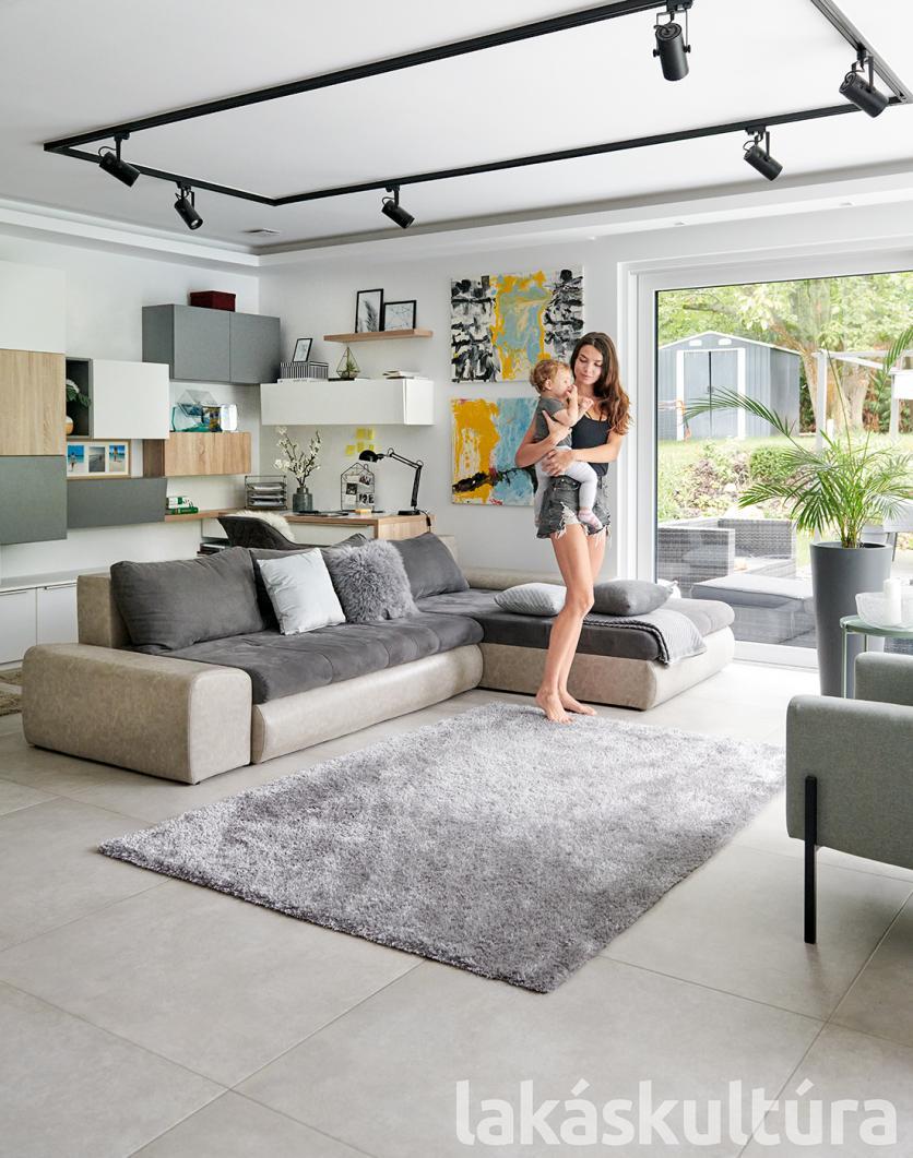 szürke, kanapé, moduláris, polc