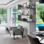 álomotthon, lakásbemutatás, otthon, üveg, nappali, terasz, polcok