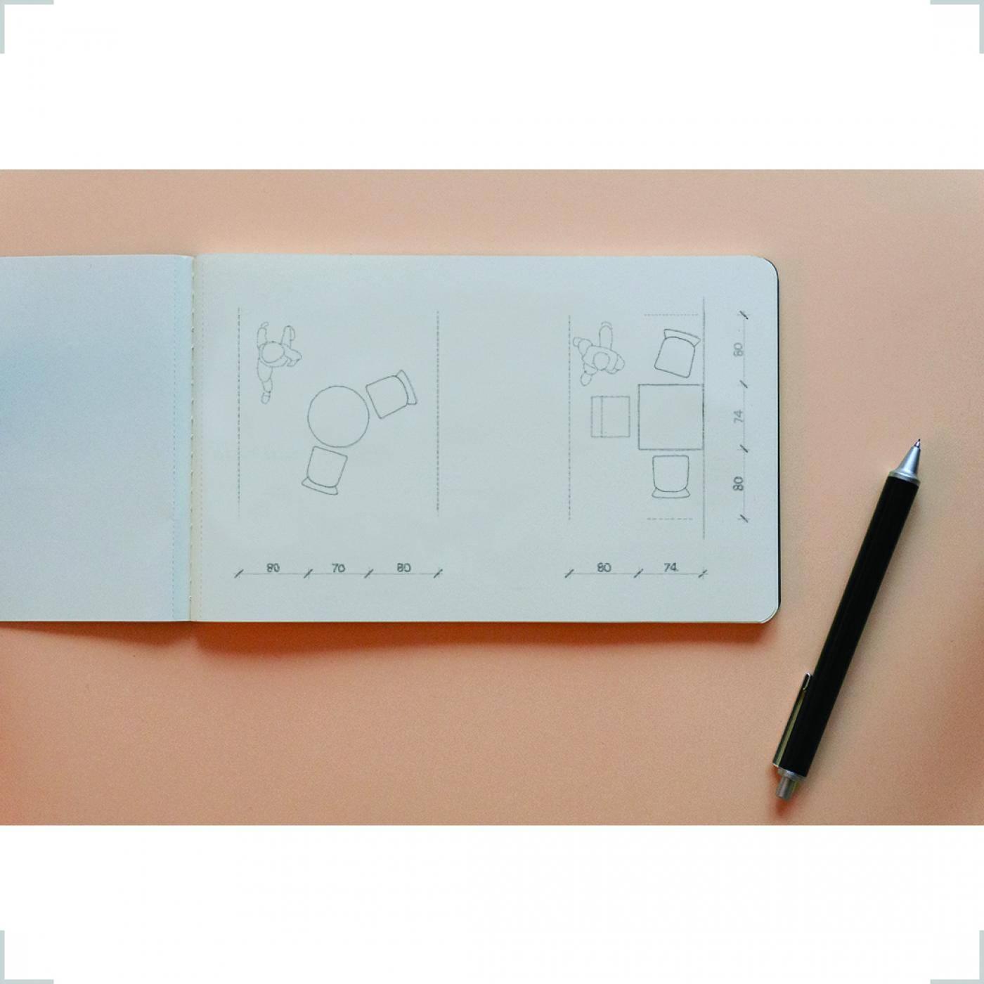 grid enteriör, étkező, kézirajz