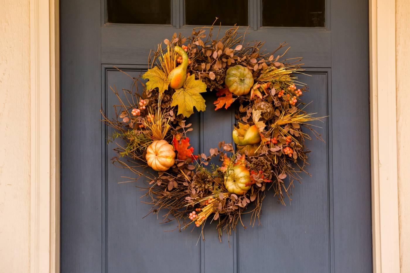 ajtódísz, ősz, kék ajtó