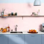 konyha, kék konyha, rózsaszín fal