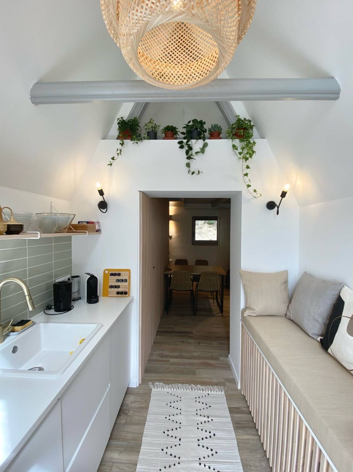 konyha, kabin, szürke konyha, szőnyegg