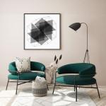 fotel, geometrikus festmény, türkiz fotel
