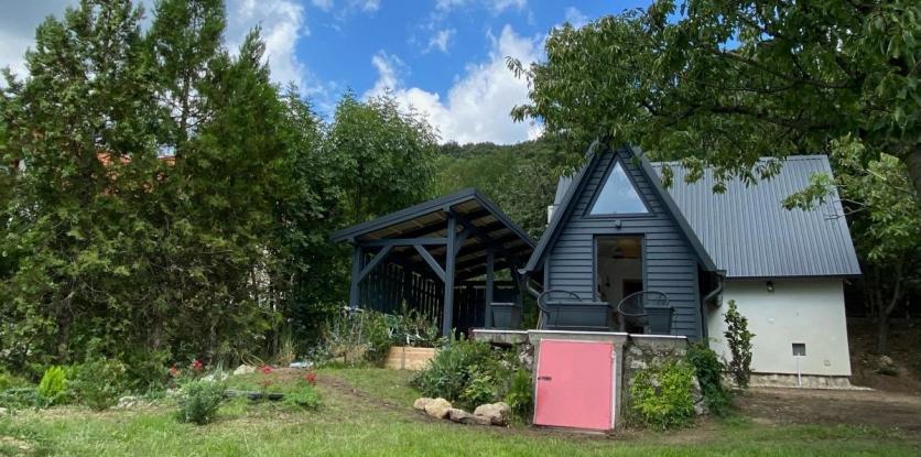 kabin, kisház, szürke ház, erdő