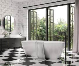 fürdőszoba, fekete fehér, kád, mosdó
